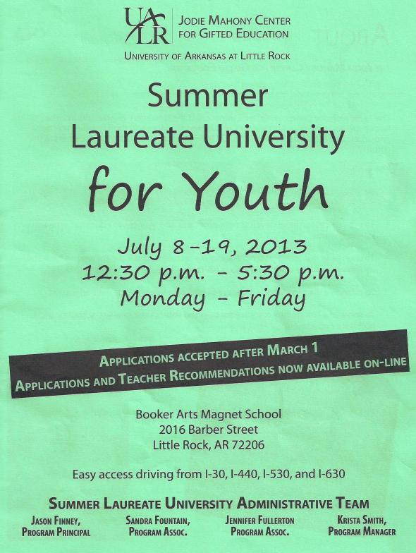 UALR Summer Laureate University for Youth